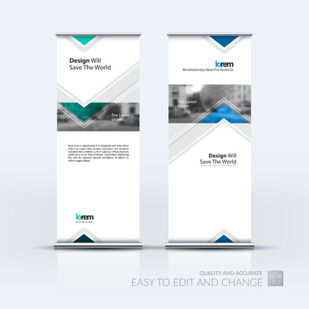 technology banner: Vector set of modern roll up banner stand design with arrows, triangles with overlap effect for business with construction, building and modern concept. Corporate vector vertical flyer. Illustration