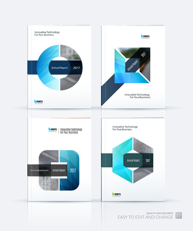 Brochure template layout, cover design annual report, magazine, flyer or leaflet in A4 with triangle, circle and square with overlap effect for business with industrial and modern concept. Vector set. Illustration