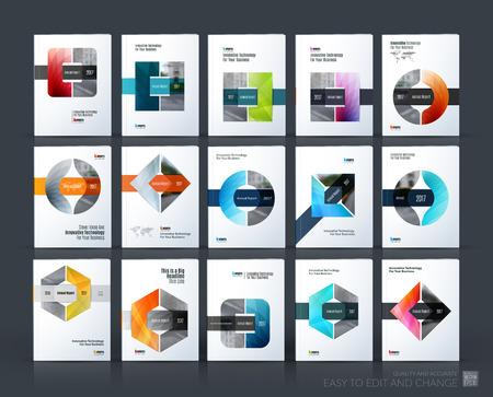 Brochure sjabloon lay-out, cover ontwerp jaarverslag, tijdschrift, flyer of folder in A4 met driehoek, cirkel en vierkant met overlapping effect voor het bedrijfsleven met industriële en moderne concept. Vector set. Stock Illustratie