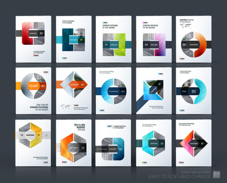 Brochure template layout, cover design annual report, magazine, flyer or leaflet in A4 with triangle, circle and square with overlap effect for business with industrial and modern concept. Vector set. Vettoriali