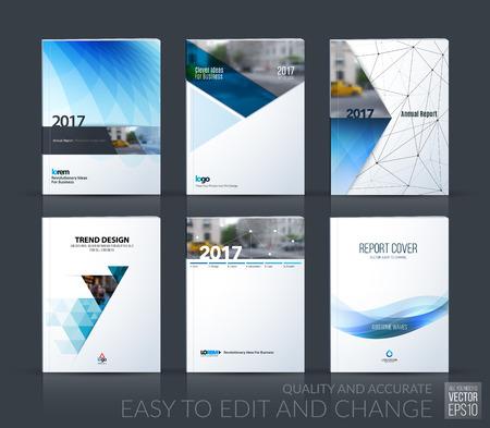 plantilla de diseño de folletos, diseño de portada informe anual, revista, folleto, folleto en A4 con el triángulo azul, flecha, círculo, cinta con efectos de superposición para los negocios y la construcción. Vector gran conjunto de mega. Ilustración de vector