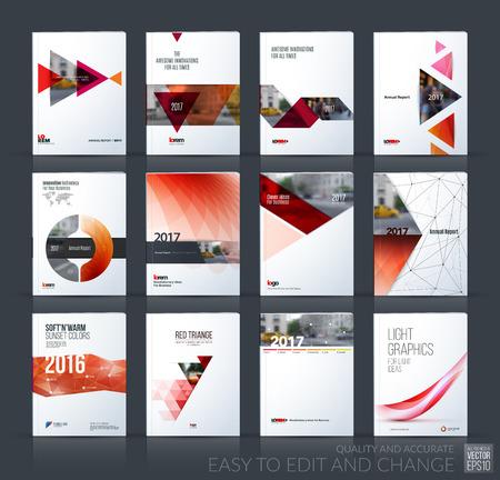 Brochure template lay-out, hoesontwerp jaarverslag, tijdschrift, flyer, folder in A4 met rode driehoek, pijl, cirkel met overlap effect voor het bedrijfsleven en de bouw idee. Vector grote mega set. Stock Illustratie