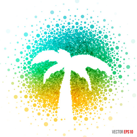 Summer palm beautiful design for greeting card template layout with splash, particles and artistic explosion effect for party, holiday, festival and celebration concept. blue, yellow vector.
