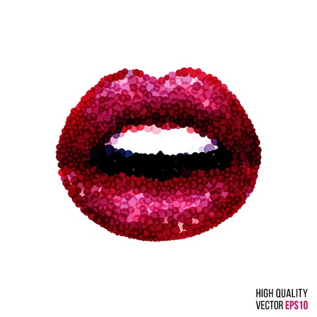 female magazine: Beautiful woman sexy lips with dotted shape. Circles, dots and rounds for lipstick, beauty salon, female magazine and website. Vector isolated girl mouth for design template. Red glamour layout.