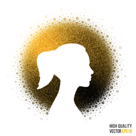 Female head silhouette design for greeting card template, woman magazine, web layout with splash, artistic effect for party, beauty salon, festival and celebration concept. Yellow glitter vector. Illustration