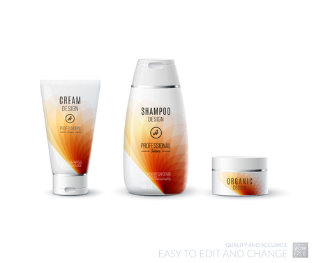 medical shower: Abstract body care cosmetic brand concept. Tube cream, shampoo packaging. Realistic vector identity set template in red tones for beauty, medicine, healthcare. Design layout. Chrome metal line.