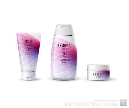 medical shower: Abstract body care cosmetic brand concept. Tube cream, shampoo packaging. Realistic vector identity set template in pink tones for beauty, medicine, healthcare. Design layout. Chrome metal line.