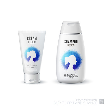 medical shower: Abstract body care cosmetic brand concept. Tube cream, shampoo packaging. Realistic vector identity set template with female silhouette for beauty, medicine, healthcare. Design layout.