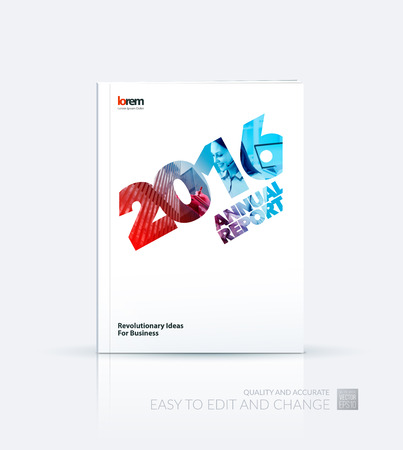 business collage: Brochure template layout, cover design annual report, magazine, flyer, leaflet, in A4 with 2016, skyscraper, business woman, laptop and collage effect for business and construction idea. Vector.