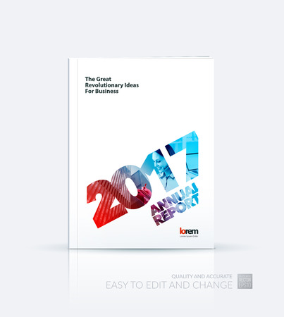 business collage: Brochure template layout, cover design annual report, magazine, flyer, leaflet, in A4 with 2017, skyscraper, business woman, laptop and collage effect for business and construction idea. Vector. Illustration