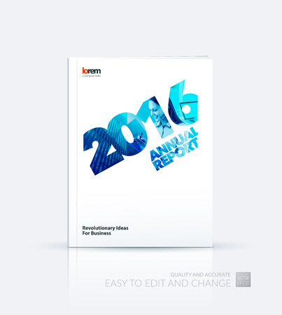 business woman laptop: Brochure template layout, cover design annual report, magazine, flyer, leaflet, in A4 with 2016, skyscraper, business woman, laptop and collage effect for business and construction idea. Vector.