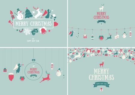 Buon Natale decorazione e design della carta. Felice anno nuovo elementi di design. Simboli vintage di cervo verde, campana, fiocco di neve, nastro, arco, albero, pupazzo di neve. Set di icone vettoriali disegnati a mano vacanza. Vettoriali