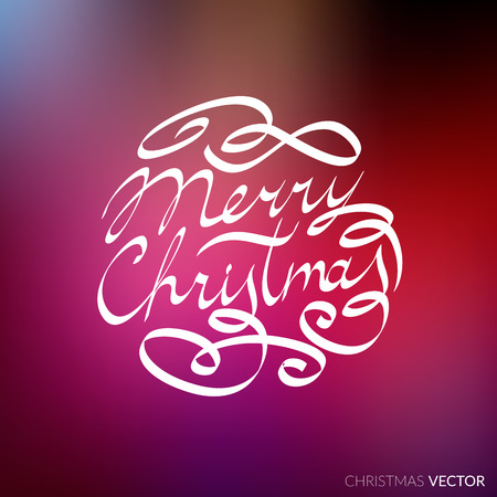 Merry Christmas lettering typography. Text design in handwriting style with ornament soft lines. Happy New Year greeting card decoration on purple blurred background for celebrating, festival. Vector.