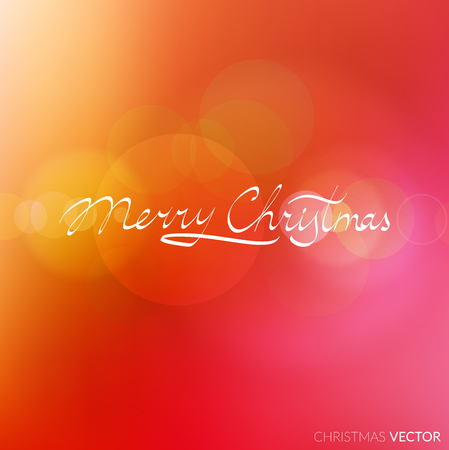 Merry Christmas lettering typography. Text design in handwriting style with ornament soft lines. Happy New Year greeting card decoration on red blurred background for celebrating, festival. Vector.
