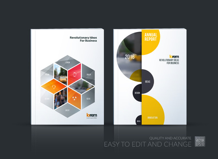 brochure cover: Brochure template layout collection, cover design annual report, magazine, flyer in A4 with grey rhombus, rectangle for business, flower style. Abstract vector design set with half circles.