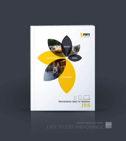 Brochure template layout collection, cover design annual report, magazine, flyer in A4 with flower petals shapes for business, nature idea. Abstract vector design. 向量圖像