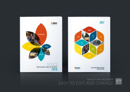 Brochure sjabloon lay-out collectie, cover ontwerp jaarverslag, tijdschrift, flyer in A4 met bloemblaadjes vormen, rhombus voor het bedrijfsleven, natuur idee. Abstract vector ontwerpset. Stock Illustratie