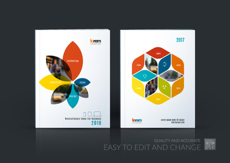 Brochure template layout collection, cover design annual report, magazine, flyer in A4 with flower petals shapes, rhombus for business, nature idea. Abstract vector design set.