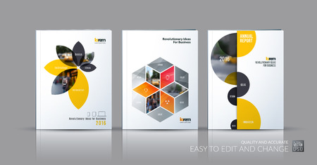 Brochure template layout collection, cover design annual report, magazine, flyer in A4 with yellow grey flower petals shapes, rhombus, circle for business, nature. Abstract vector design set. Иллюстрация