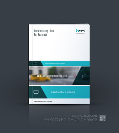 Brochure template layout collection, cover design annual report, magazine, flyer in A4  with turquoise banners and diagonals for business, building, consulting. Abstract vector design.