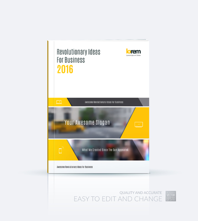 Brochure template layout collection, cover design annual report, magazine, flyer in A4  with yellow banners and diagonals for business, building, consulting. Abstract vector design.