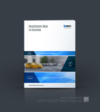 Brochure template layout collection, cover design annual report, magazine, flyer in A4  with blue banners and diagonals for business, building, consulting. Abstract vector design.
