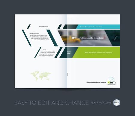 Brochure template layout collectie, hoesontwerp jaarverslag, tijdschrift, flyer in A4 met groene banners en diagonalen voor het bedrijfsleven, de bouw, consulting. Abstract vector design.
