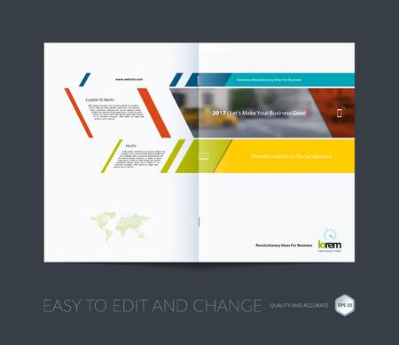 colección de diseño de plantilla de folleto, informe anual de diseño de la portada, revista, folleto en A4 con banderas de colores y diagonales para los negocios, construcción, consultoría. Resumen de diseño vectorial.