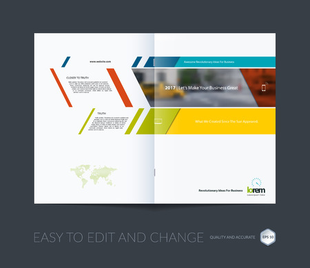 Brochure template layout collection, cover design annual report, magazine, flyer in A4  with colorful banners and diagonals for business, building, consulting. Abstract vector design.
