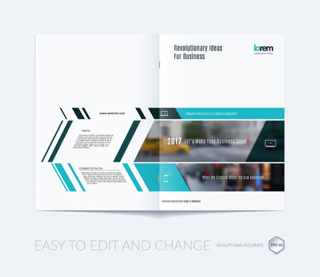 Brochure template layout collection, cover design annual report, magazine, flyer in A4  with green banners and diagonals for business, building, consulting. Abstract vector design.