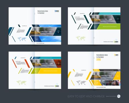 Colección de diseño de plantilla de folleto, informe anual de diseño de la cubierta, revista, folleto en A4 con pancartas y diagonales para negocios, construcción, consultoría. Conjunto de diseño vectorial abstracto Ilustración de vector