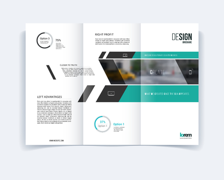 Tri-fold Brochure template layout, cover design, flyer in A4 with banner and diagonals, diagram infographics for engineering and nature concept. Abstract vector design. Vectores