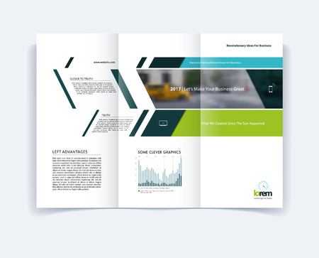 Tri-fold Brochure template layout, cover design, flyer in A4 with banner and diagonals, diagram infographics for engineering and nature concept. Abstract vector design. Illustration