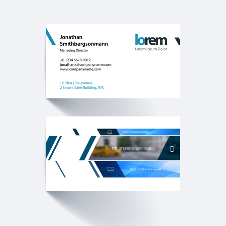 Vector business card template with banner and diagonals, for engineering, business, building, consulting. Simple and clean design. Creative corporate identity layout.