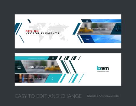 Vector conjunto de banners para sitios web modernos horizontales y diagonales con rectángulos de negocio, construcción, consultoría. diseño de las cabeceras web limpia. folleto corporativo creativo. Ilustración de vector