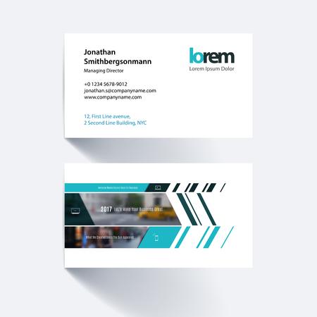 Vector carte de visite modèle avec bannière et diagonales, pour l'ingénierie, des affaires, la construction, le conseil. Une conception simple et propre. Creative disposition de l'identité d'entreprise.