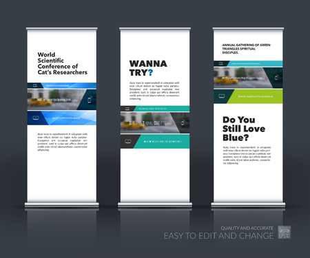 Vector set of modern roll Up Banner stand design with rectangles and diagonals for business, building, consulting. Brochure and presentation for exhibition, show, fair. Vectores
