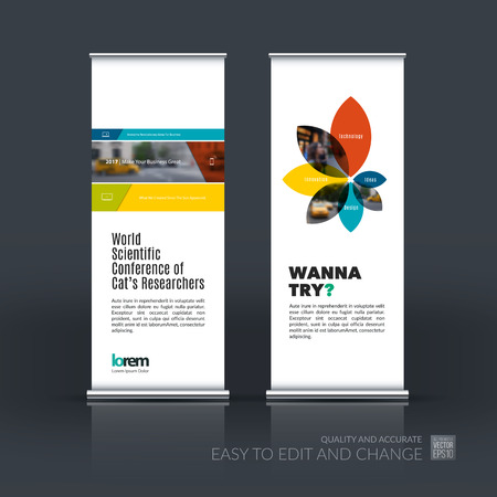 Vector set of modern roll Up Banner stand design with colorful rectangles and diagonals for business, building, consulting. Brochure and presentation for exhibition, show, fair.
