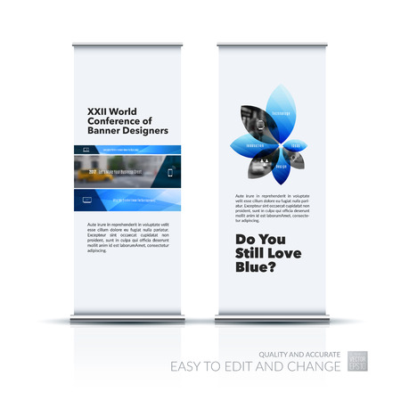 Vector set of modern roll Up Banner stand design with blue rectangles and diagonals for business, building, consulting. Brochure and presentation for exhibition, show, fair. Illustration