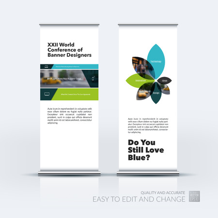 Vector set of modern roll Up Banner stand design with rectangles and diagonals for business, building, consulting. Brochure and presentation for exhibition, show, fair. Illustration