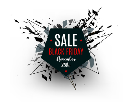 efectos especiales: Black Friday sale inscription design template. Pentahedron banner. Vector illustration, marketing price tag, discount, advertising. Abstract explosion of black glass. Vector illustration.