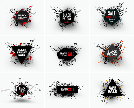 bomb price: Black Friday sale inscription design template. Geometric banners. Vector illustration, marketing price tag, discount, advertising. Abstract explosion of black glass. Vector illustration.