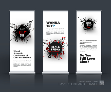 Vector Set Of Modern Roll Up Banner Stand Design With Black Friday Royalty Free Cliparts Vectors And Stock Illustration Image 64879216