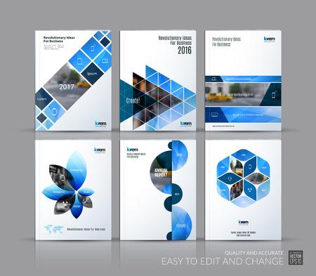 Bedek ontwerp jaarverslag, brochure sjabloon lay-out, tijdschrift, flyer in A4 met blauwe driehoeken, rechthoekige elementen, vierkanten, cirkels, bloemen voor zaken, financiën. Abstract vector design set.