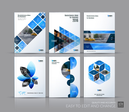 Cover design annual report, brochure template layout, magazine, flyer in A4 with blue triangles, rectangular elements, squares, circles, flowers for business, finance.  Abstract vector design set. Ilustração