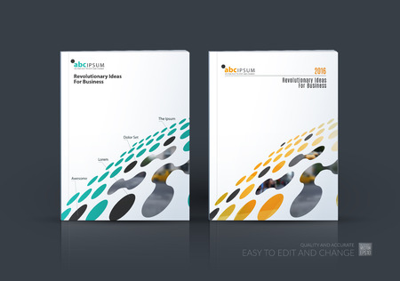 Brochure template layout, cover design annual report, magazine, flyer in A4 with colourful perspective rounds, circles, dots, spots for business, finance, science, building. Abstract vector design Vettoriali