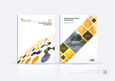 Brochure template layout, cover design annual report, magazine, flyer in A4 with perspective circles, dots, rectangles for business, finance, science, building. Abstract vector design set. Illustration
