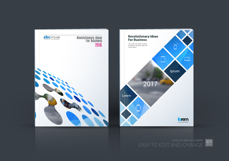 Brochure template layout, cover design annual report, magazine, in A4 with perspective circles, dots, rectangles for business, finance, science, building. Abstract design set.