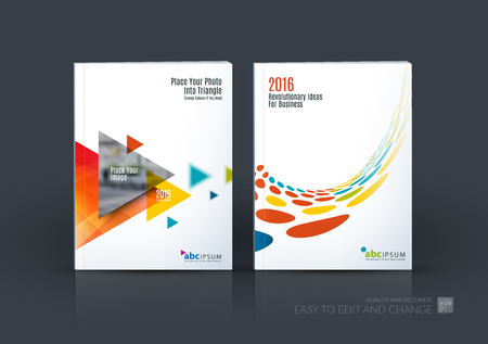 Zakelijke set. Brochure sjabloon lay-out, cover ontwerp jaarverslag, magazine, in A4 met vliegende driehoeken, pijlen, stippen, cirkels voor financiën, wetenschap, teamwork. Abstract ontwerp