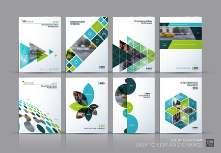 Business set. Brochure template layout, cover design annual report, magazine, in A4 with green flying triangles, square, circles, flower, polygons for science, teamwork. Abstract Vectores